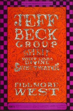 Rock Posters, Band Posters, Music Posters, Vintage Concert Posters, Vintage Posters, Jeff Beck Group, Fillmore West, Groups Poster, Hidden Pictures