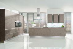 Urban Influence The handleless AV 4080 GL design from Hacker shown in Salento grey-beige  www.haecker-kuechen.de #kitchen