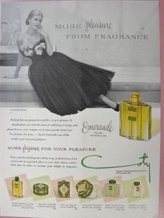 1950 COTY Emeraude Perfume Powder Talc Salts LILLY DACHE Gown Vintage Print Ad