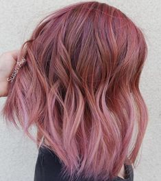 Burgundy To Pink Ombre Bob