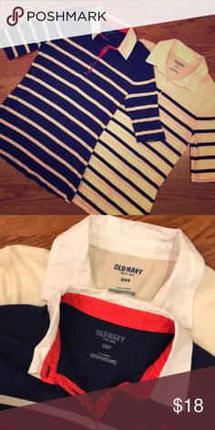 2 Old Navy polo shirts (Navy/Cream) - Size M 1st shirt is Navy/White striped with Orange accent around white color    2nd shirt is Cream/Black striped with white collar Old Navy Tops Blouses