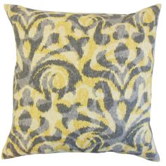 Coretta Geometric Yellow Down and Feather Filled Throw Pillow (20-inch), Size 20 x 20