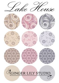 Lake House Collection by Ginger Lily Studio Swatch, Delicate, Lily, Pdf, Studio, Fabric, Pattern, House, Collection