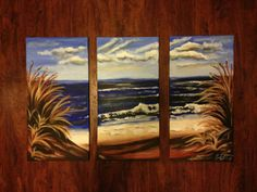 MADE TO ORDER large 3 piece beach painting on canvas $169 free shipping