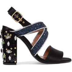 Marni Leather-trimmed embellished satin sandals (€735) ❤ liked on Polyvore featuring shoes, sandals, heels, marni, zapatos, strappy block heel sandals, strappy high heel sandals, high heeled footwear, high heel sandals and glitter sandals