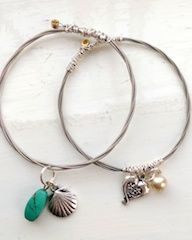 Recycled guitar string charm bangles