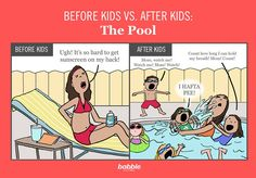 Before Kids vs. After Kids: The Pool. Welcome to summer. Parenting comic created for Babble by Hedger Humor.