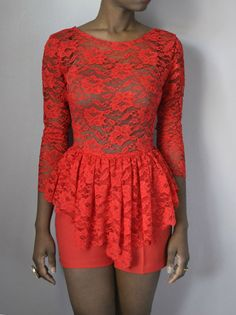 Boat Neck Lace Peplum Romper by DanielaTabois on Etsy, $160.00 <--I'd actually rock this!