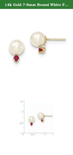 14k Gold 7-8mm Round White FW Cultured Pearl Ruby Earrings Gem CTW 0.1. Attributes 14k Yellow gold Post Genuine Freshwater cultured pearl Ruby Crystal accent crown Product Description Material: Primary - Purity:14K Stone Type 1:Pearl Stone Type 2:Ruby Stone Color 1:White Stone Color 2:Red Length of Item:7 to 8 mm (range) Material: Primary:Gold Stone Shape 1:Round Stone Shape 2:Round Stone Size 1:7 to 8 mm Stone Treatment 1:Bleaching Stone Treatment 2:Heating Thickness:7-8 mm Width of…