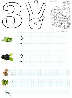 CYFRA 3 - KARTY PRACY | BLOG EDUKACYJNY DLA DZIECI School Frame, Worksheets, Coloring Pages, Kindergarten, Diagram, Math Equations, Internet, School, Speech Language Therapy