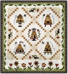 Cute Quilts, Mini Quilts, Quilting Projects, Sewing Projects, Quilting Ideas, Honey Bee Hives, Honey Bees, Bee Skep, Bee Crafts