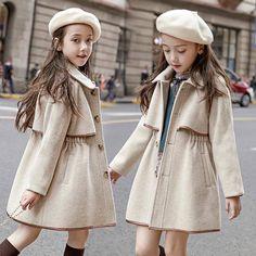 Filles Enfants Fashion Long Trench Coat Hiver Chaud Veste Robe de soirée Vêtements