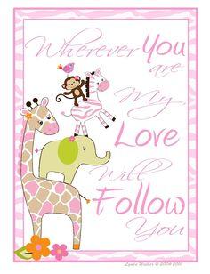 Jungle Jill Baby Nursery Child Room Wall Art Print My Love Will Follow | eBay  sc 1 st  Pinterest & Girl Jungle Animal Jungle Jill Nursery Wall Art | Nursery Girls and ...