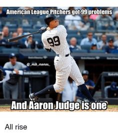 American League Pitchers Got 99 Problems Nemes and Aaron Judge Isone All Rise Yankees News, Yankees Fan, New York Yankees, Baseball Players, Mlb Players, Baseball Games, Baseball Mom, Damn Yankees, Softball Shirts