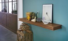 """Designer Avio Sattin. Made in Italy. FLAP is a shelf in oak wood veneer, anthracite stained oak or American walnut, available in 59"""" & 70 3/4"""" lengths, 3 1/8"""" thick with a depth of 12 1/8"""". Fitted with a concealed drawer, which can be placed on the right or left side of the shelf. Can hold up to 35 kg."""