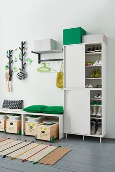 Getting the kids out the door in the morning is often the most stressful part of a parent's day. IKEA storage containers and cabinets make it easy to organize your little ones' shoes, hats, jackets and backpacks to make your morning routine a little easier.