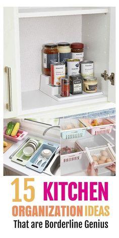Kitchen Organization Pantry, Small Space Organization, Diy Kitchen Storage, Diy Organization, Kitchen Organizers, Organized Pantry, Refrigerator Organization, Kitchen Hacks, Wardrobe Organisation