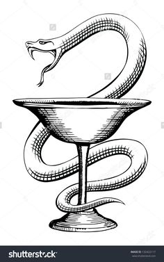 Pharmacy Snake and Cup Medical Symbol is a vintage style illustration of the pharmacy symbol design