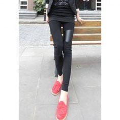 $6.38 Slimming Trendy PU Leather Splicing Footless Leggings For Women