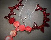 Red Shell and Glass Beaded Sterling Silver Necklace