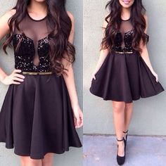 Cute little black dress with sequins...