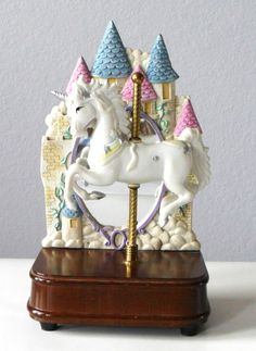 unique music boxes for girls   Vintage Unicorn Music Box, Carousel Music Player, Porcelain Unicorn ...
