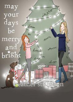 Christmas Cards  Wall Art for Women  Merry by RoseHillDesignStudio