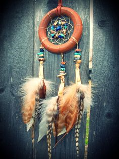Dream Catcher Natural with Blue by xsaraphanelia