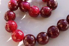 Ruby Agate Beads by BeadyEyedBird on Etsy, $60.00