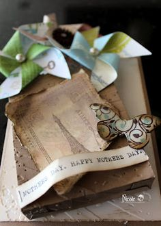 "Mothers Day card using ""In the Bag"" die and Scrappy Moms Stamps Pinwheel die.  More Photo's on my blog"