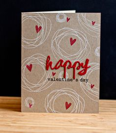 PTI Circle Scribbles Valentine's Day CAS card (front and back of card stamped w/design)