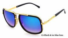 Alta Moda Mens Quadrados Óculos De Sol de Marca Designer de Ouro Unisex  Metal Frame Óculos 5adc5c7270