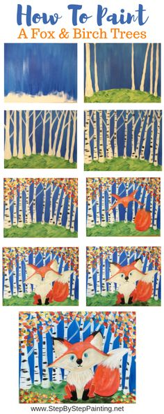 How To Paint A Fox and Birch Trees – Step By Step Painting Source by stepbysteppainting Fox Painting, Painting For Kids, Painting & Drawing, Painting Trees, Fox Drawing, Tree Paintings, Knife Painting, Drawing For Kids, Art For Kids