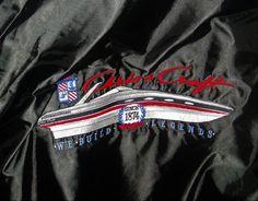Vintage Black Satin XL Baseball Jacket Chris Craft Boats DeLong Sportwear #DeLONG #BasebakkWindbreaker
