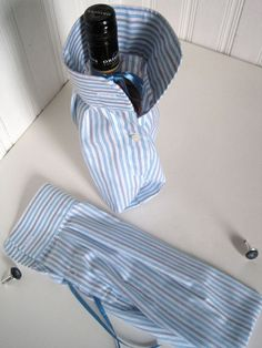 Bottle Gift Bag Upcycled Shirt for Cuff Link Presentation - Groomsmen Gift - Liquor Gift Bag