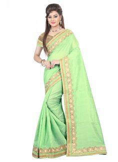 Enticing Sea Green Cotton   Stylish Saree