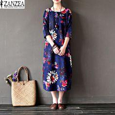 ZANZEA 2017 Summer Womens Vintage Floral Print O Neck Batwing Sleeve Casual Party Baggy Long Dress Kaftan L-5XL(China (Mainland))