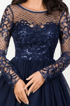 ALICE granatowa Prom Dresses, Formal Dresses, Alice, Dresses With Sleeves, Gowns, Long Sleeve, How To Wear, Outfits, Fashion