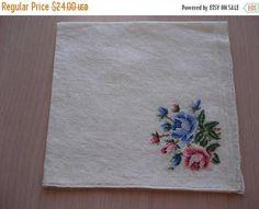 50% OFF SALE Vintage Petitpoint Embroidery Hankie  Bouquet of