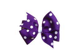 Dark purple polka dot hair bow by BrownEyedBowtique on Etsy, $5.00