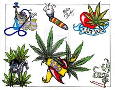 Pot tattoo marijuana designs leaf