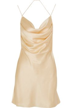 Champagne silk-satin Slips on 100% silk Dry clean Made in France