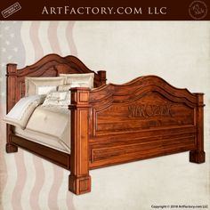Bedroom Furniture: Solid Wood Beds, Armoires, And Dressers Hand Carved Personalized Bed: French Inspired Design By Artist H. Nick - handmade in the USA by master craftsmen, guaranteed forever, call