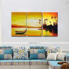 83.63  Peinture à l huile Hang-peint Peint à la main - Abstrait   Paysage  Moderne   Style européen Toile   Trois Panneaux a8c5a3206fa
