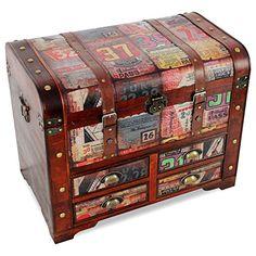 Elegante Holztruhe mit 4 Schubladen, 72x45xH58cm, handgefertigt - Schatztruhen Schatzkisten Aufbewahrungstruhen Aufbewahrungskisten Aufbewahrung Holzkisten Kommode