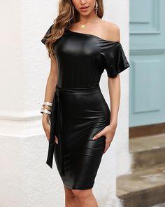 Skew Neck Batwing Short Sleeve PU Bodycon Dress – streetstylepop Chic Type, Black Bodycon Dress, Types Of Dresses, Bat Wings, Sleeve Styles, Work Wear, Fashion Dresses, Skinny, Sexy