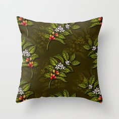 Buy Coffee Plant Branches w/ Coffee Cherries & Flowers Throw Pillow by somecallmebeth. Worldwide shipping available at Society6.com. Just one of millions of high quality products available. Couch Pillows, Down Pillows, Coffee Plant, Flower Pillow, Designer Throw Pillows, Cherries, Pillow Design, Pillow Inserts, Branches