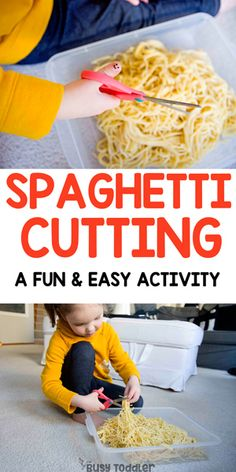 Spaghetti Cutting Bin - Scissor Skills Activity Is your preschooler working on their scissor skills? Make this spaghetti cutting bin! A fun and easy way to practice using scissors. A life skills activity. Life Skills Activities, Fine Motor Activities For Kids, Preschool Learning Activities, Infant Activities, Toddler Preschool, Baby Room Activities, Pre School Activities, Cutting Activities For Kids, Toddler Fine Motor Activities