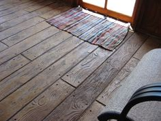 Stamped Concrete - Faux Wood. Love the look but I think dirt would get caught in all those cracks
