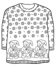 Christmas Sweater with Teddy Bears coloring page from Christmas Sweaters category. Select from 31983 printable crafts of cartoons, nature, animals, Bible and many more. Coloring Pages Winter, Coloring Book Pages, Teddy Bear Coloring Pages, Christmas Coloring Sheets, Christmas Afghan, Hobbies For Adults, Disney Babys, Christmas Crafts For Kids To Make, Printable Crafts